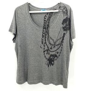 Escada sport tee shirt XL scoop neck gray sequin